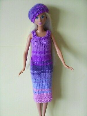 Hand knitted clothes for Barbie/Sindy dolls.Random purples/pinks dress & beret