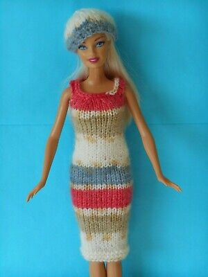 Hand knitted clothes for Barbie/Sindy dolls. Random pastels dress & beret