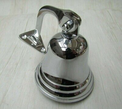 "3"" POLISHED CHROME  Vintage Ship victorian Wall bell School pub last dinner door"
