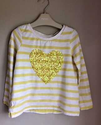 Next Girls White Stripe Top Sequin Heart Age 3 Years Jumper Cardigan Outfit Rare