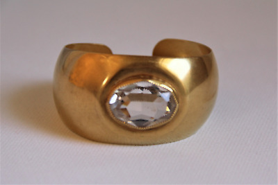 Just the Right Amount of Sparkle this Polished Brass Wide Tapered Cuff