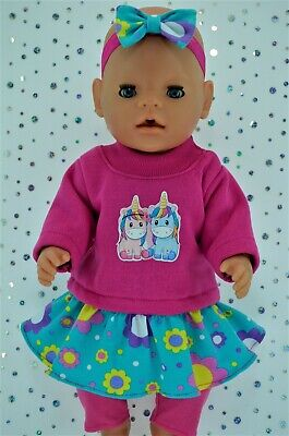 "Play n Wear Dolls Clothes For 17"" Baby Born SKIRT/BUILT-IN TIGHTS~TOP~HEADBAND"