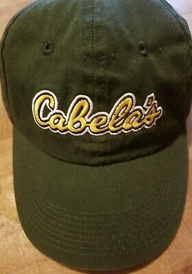 c165bf90e CABELAS BASEBALL CAP Green Adjustable Hat Embroidered Yellow Logo ...