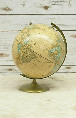 "Vintage Crams Imperial 12"" World Globe On Metal Stand George F. Made In U.S.A."
