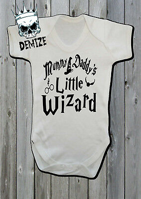 Harry Potter Baby Grow Vest Mummy and Daddy's Little Wizard Gift Hogwarts