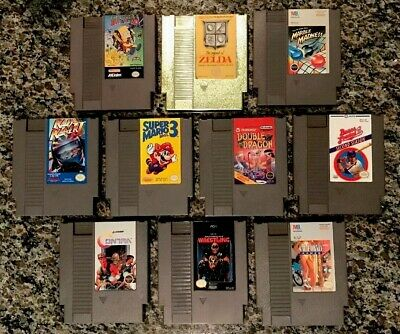 Nintendo NES video game lot Zelda gold Super Mario 3 Contra etc vintage 1980's