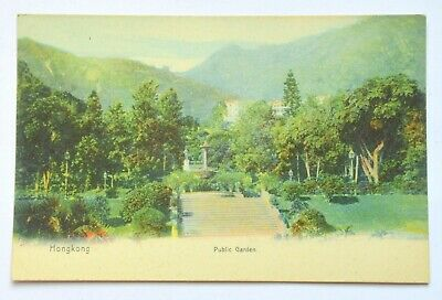 China Empire Chinese Hong Kong Public Garden Old Antique Colored Postcard