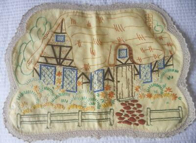 Vintage Embroidered Yellow Linen Doily Cottage Garden Crochet Lace Edging Large