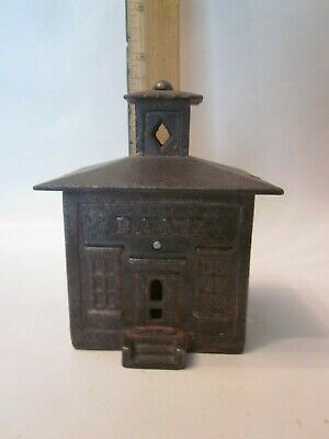 Cast iron building house still bank register cupola penny register antique