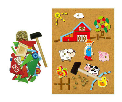 Wooden Farm Tap A Shape Educational Toy Hammers & Nails in Book Box