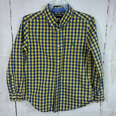 Chaps Ralph Lauren Boys Long Sleeve Button Up Shirt Size 7 Blue Yellow