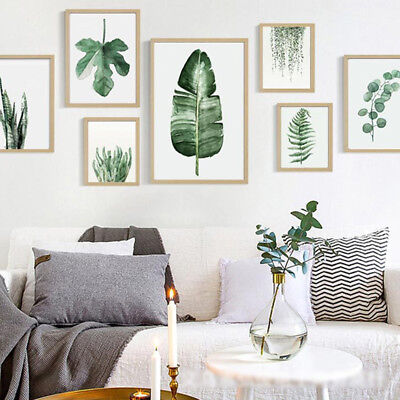 Modern Green Plants Leaves Printed Canvas Art Poster DIY Home Room Decals Decor