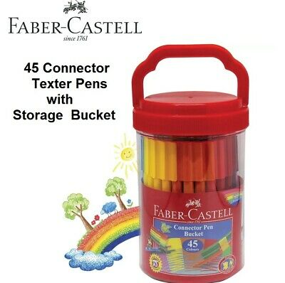 Faber Castell Coloured Texters Markers Connector Pen 45 Colours Storage Bucket