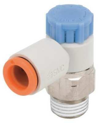 SMC Electroless Nickel-Plated Brass and PBT Elbow Flow Control Valve with 5//32 Tube Size Pack of 2 AS2201F-N01-03SD,