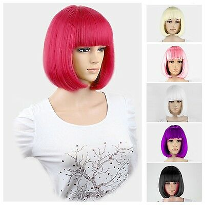 New Ladies Womens Fancy Dress Wig Bob Style Full Short Hair Wig Party Cosplay