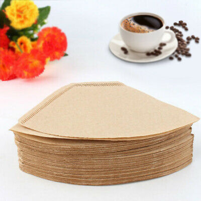100Pcs/Set Replacement Coffee Paper Filter Cones Count Natural Grey Unbleached