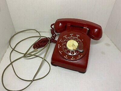 WORKS Bell Western Electric Rotary Dial Cherry Red Vintage Desk Telephone Thick