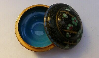 Small round Cloisonne dish - black exterior with blossums & blue interior