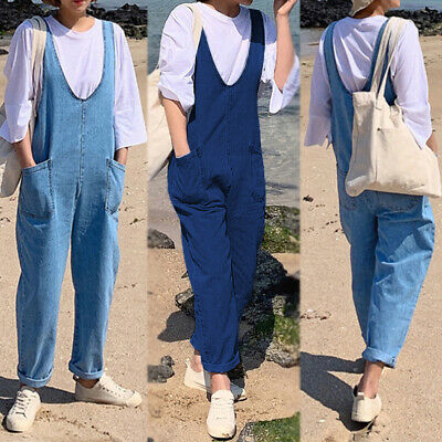 ZANZEA Women Plus Size Loose Baggy Bib Denim Trousers Jeans Dungarees Overalls