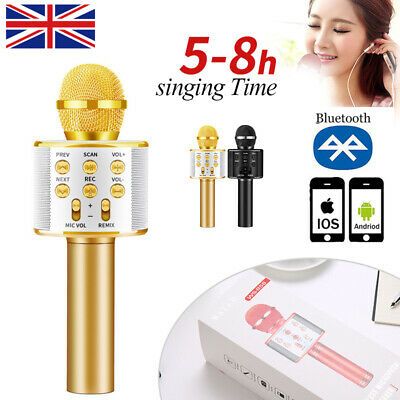 Bluetooth Karaoke Microphone Handheld Wireless Microfone Mic Speaker Home KTV UK