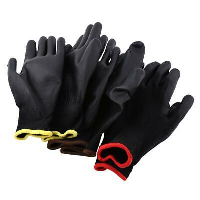 12/24Pairs PU Nylon Safety Coating Work Gloves Builders Grip Palm Protect S/M/L