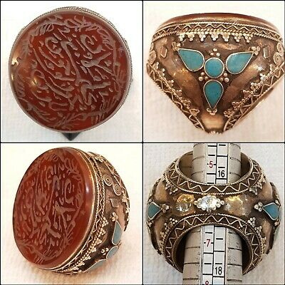 Ancient Islamic Calligraphy Wonderful Agate Stone Old Silver Afghan Huge Ring