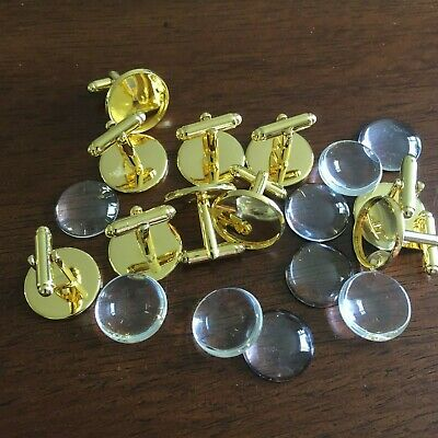 10 x ROUND GOLD TONE COPPER CABOCHON SETTING CUFF LINKS BLANKS  Fit 18mm dia