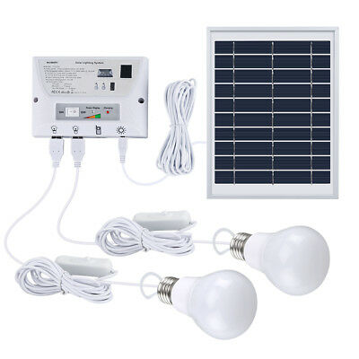 Suaoki Solarenergie Lampe Kit Lighting System MIT 1 Solar Panel /2 LED Bulbs Neu