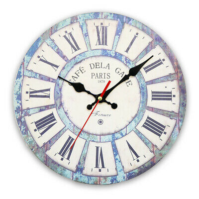 Large Vintage Wooden Wall Clock Shabby Chic Rustic Kitchen Home Antique-Style LA