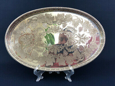Antique Edwardian Viners Ltd. silver plate on copper Oval tray c.1903 England