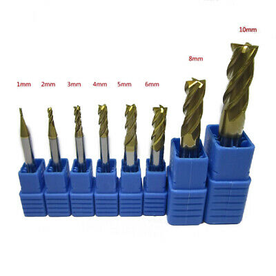4-Flute End Mills Set CNC Tools Shank Trimming 1-10MM Tungsten Carbide