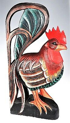 BIG Rooster Chicken Carved Painted Wood Rustic Folk Art Country Farm Decor LG