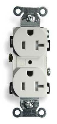 HUBBELL WIRING DEVICE-KELLEMS BR20WHITR 20A Duplex Receptacle 125VAC 5-20R WH