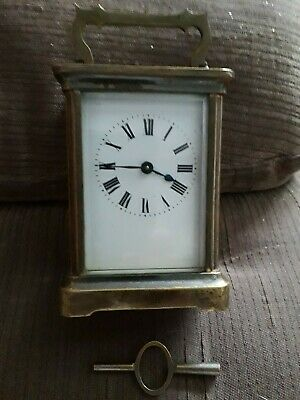 Antique Brass Carriage Clock With Key Working Order