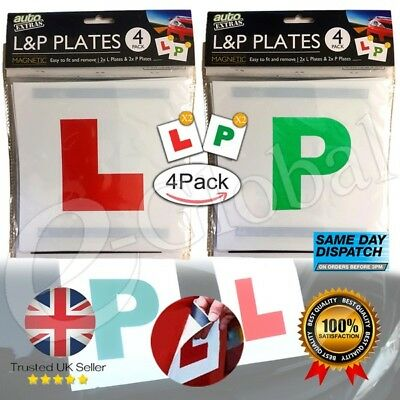 Learner Driver L Plate, P New Driver Just Passed Magnetic Driving Test 4 PCS UK