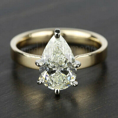 2.05Ct Pear Near White Moissanite Two Tone Engagement Ring 10k Solid Yellow Gold