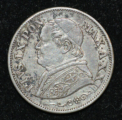 Italy, Papal States Vatican Pius IX 1867 XXII R 10 Soldi XF Silver coin 50 Cente