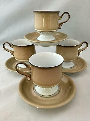 Set of 4 Denby SEVILLE Footed Brown Tan Coffee /Tea Cup & Saucers SHIPS FREE