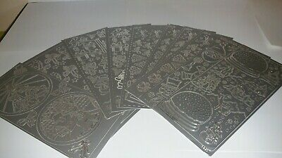 Christmas Stickers craft Card Making  silver x10 sheets lot 2