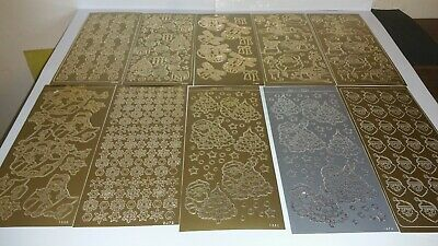 Christmas Stickers craft Card Making gold and silver x10 sheets lot 8