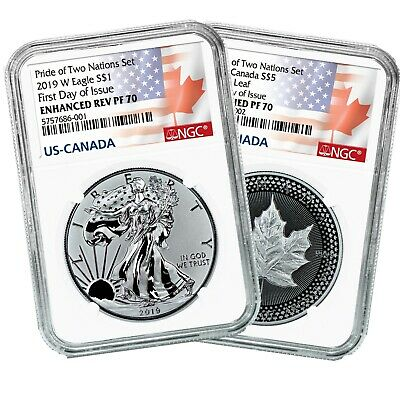 2019 Pride of Two Nations US $1 Silver Eagle and $5 Maple Leaf FDOI NGC