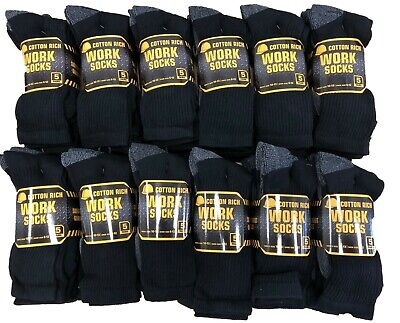Stock Clearance JOB LOT Mens Work Socks 100 Pairs Cotton Crew Black white 6-12