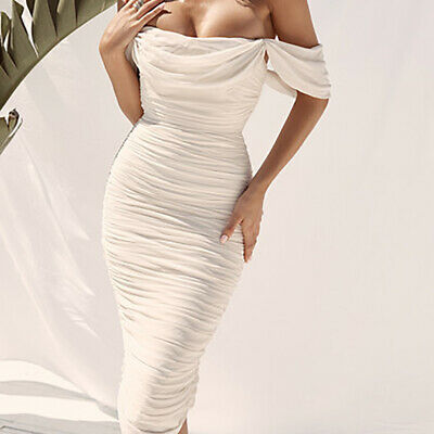Off Shoulder Strapless Sexy Women Sleeveless Backless Bodycon Long Ruched Dress