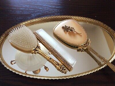 Vintage Gold Tone Oval Vanity Set Tray Hand Mirror Brush