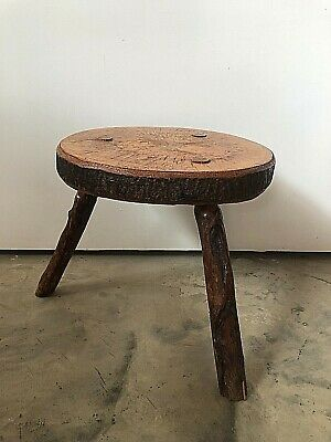 Vintage/ Antique Rustic 3 Legged Timber Milking Dairy Stool