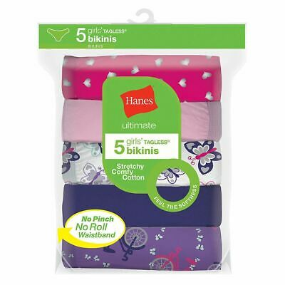5-Pack Hanes Ultimate Girls Cotton Stretch Bikinis Panties - Assorted - 6-16