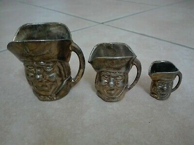 3 Toby Jugs, Toby Krüge, Messing, England, Set