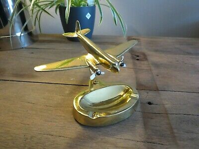 Vintage gold color messing Airplane DC-3 McDonnell Douglas PASTUSHIN ASHTRAY
