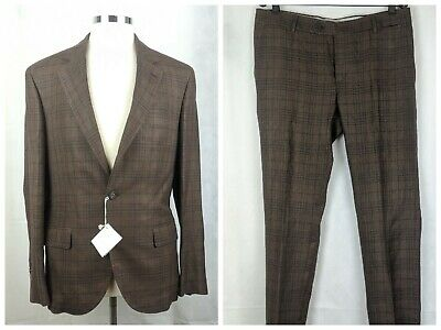 100% Authentic BRUNELLO CUCINELLI Linen/Wool/Silk Checkered Suit Size 50/40 NWT