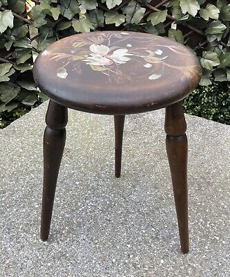 Antique Vintage Wooden Farmhouse Milking Stool Hand Painted Flowers Decoration